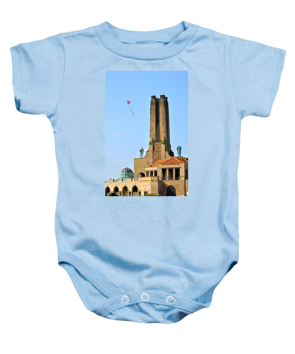 Asbury Park Baby Onesie featuring the photograph Casino Building And Kite by Catherine Conroy