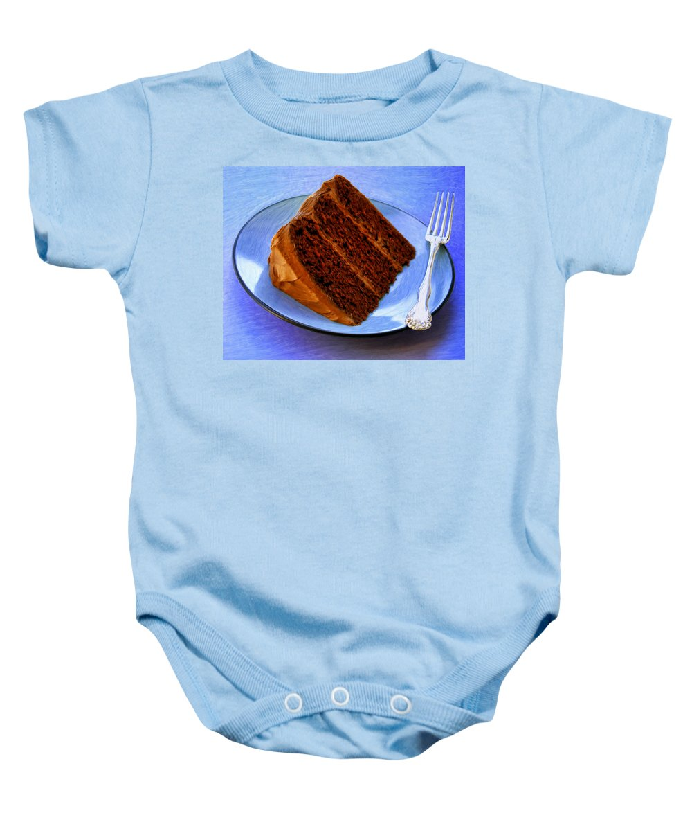 Chocolate Cake Baby Onesie featuring the painting Chocolate Cake by Dominic Piperata