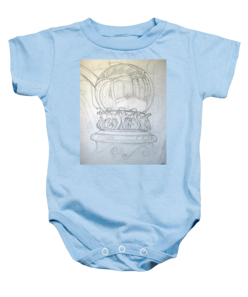 Ball Baby Onesie featuring the drawing Chrome Ball at M.I.C.A. by Robert Fenwick May Jr