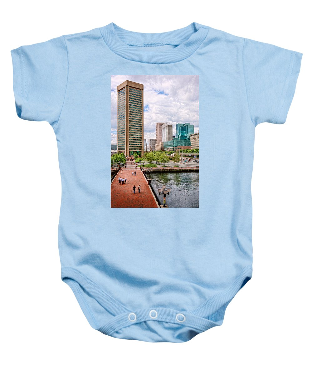 Baltimore Baby Onesie featuring the photograph City - Baltimore Md - Harbor Place - Baltimore World Trade Center by Mike Savad