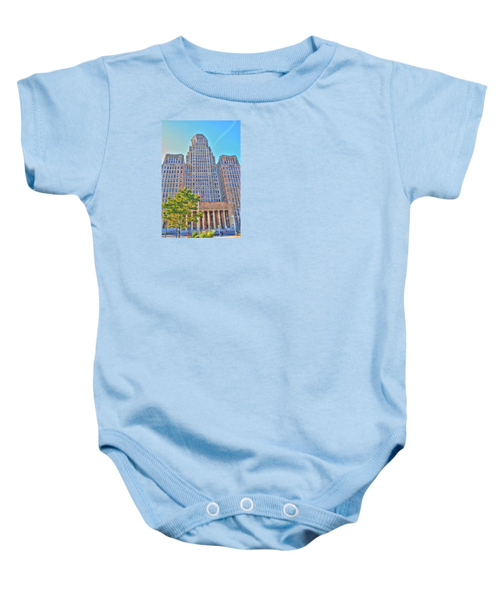 Baby Onesie featuring the photograph City Hall by Michael Frank Jr
