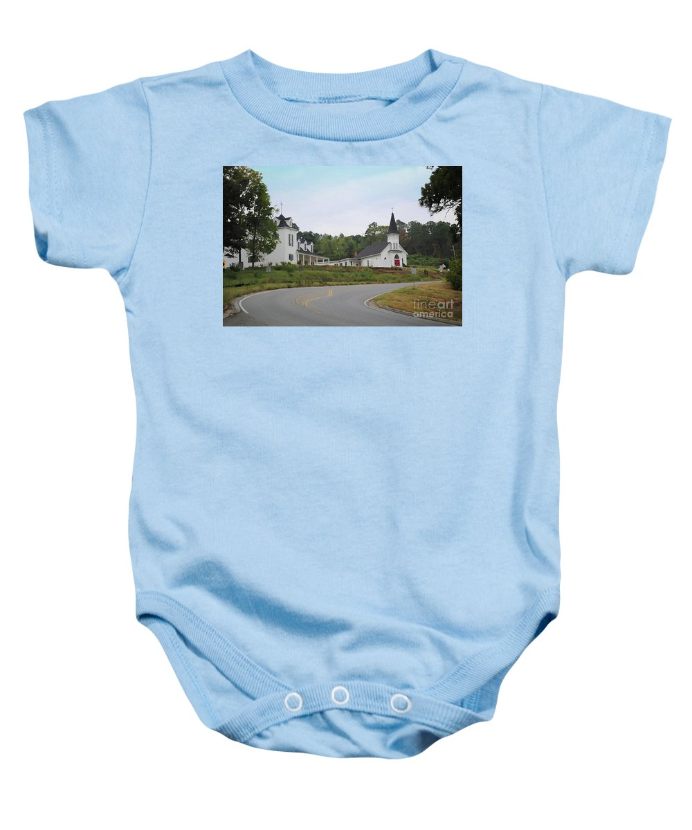 Church Baby Onesie featuring the photograph Country Church In Texture by Jost Houk