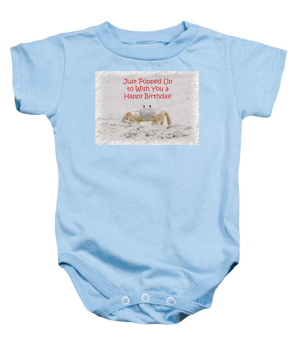 Fiddler Baby Onesie featuring the photograph Crab Happy Birthday by Judy Hall-Folde