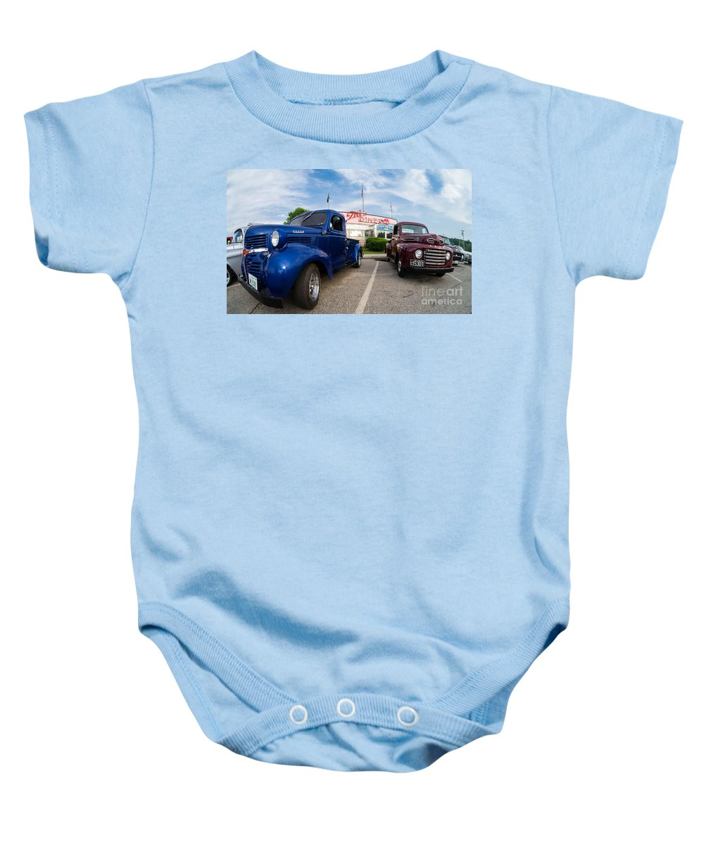 Car Baby Onesie featuring the photograph Cruise Night At The Diner by Edward Fielding