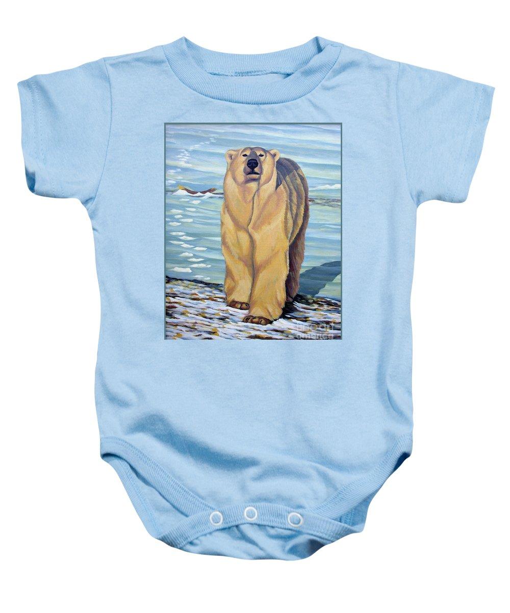 Polar Bear Baby Onesie featuring the painting Curiosity - Polar Bear Painting by Kim Hunter