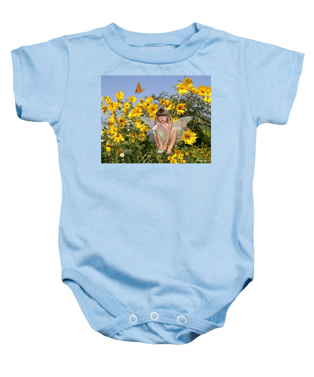 Daisy Baby Onesie featuring the photograph Daisy Faery by Diana Haronis