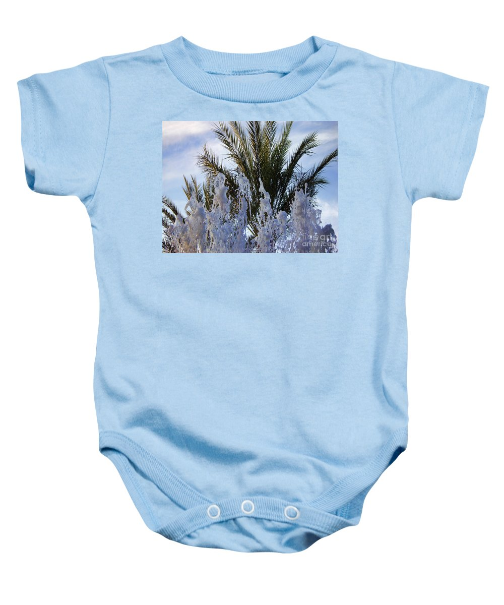 Palm Tree Baby Onesie featuring the photograph Dancing Fountain by Mariola Bitner