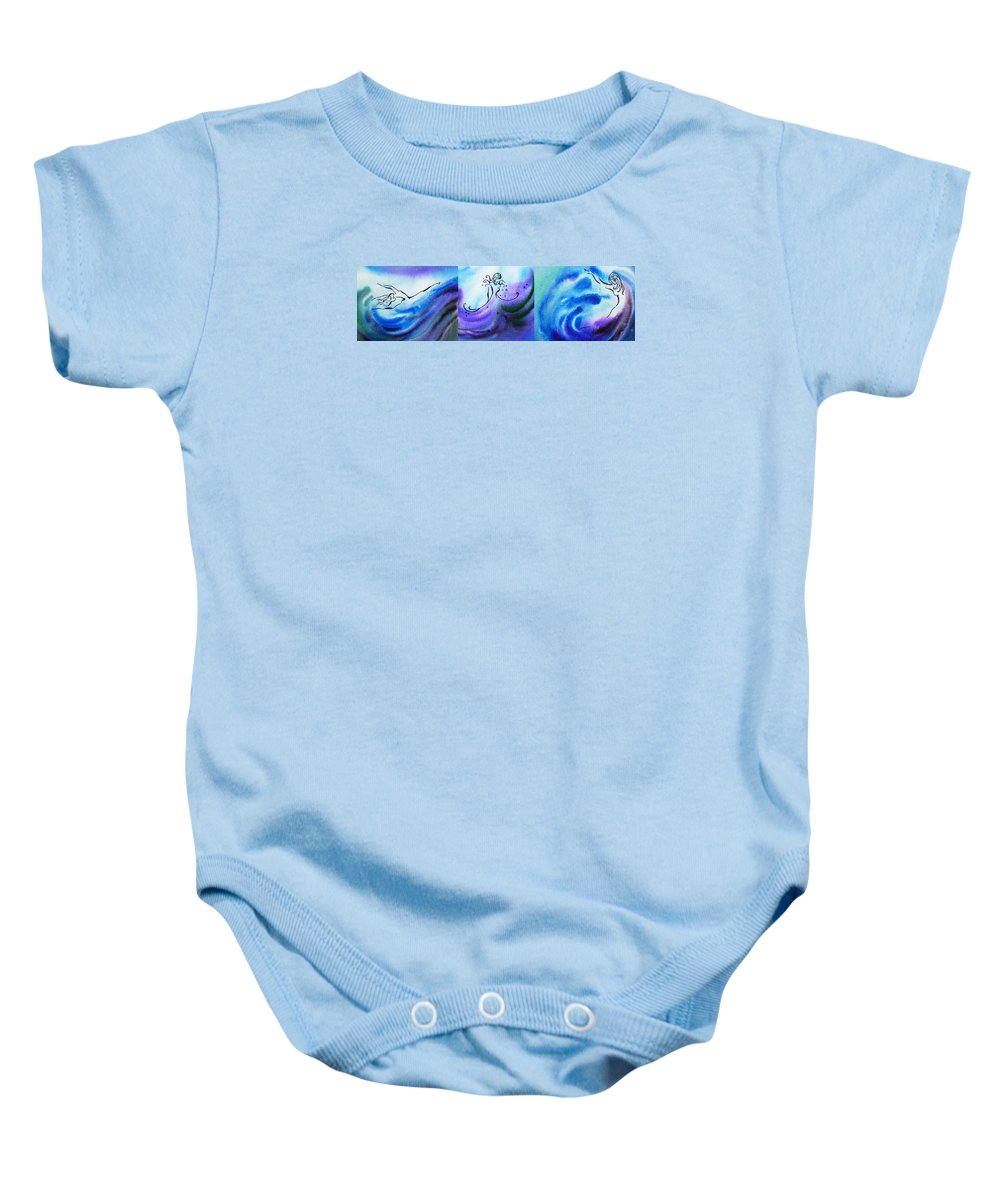 Abstract Baby Onesie featuring the painting Dancing Water Vi by Irina Sztukowski