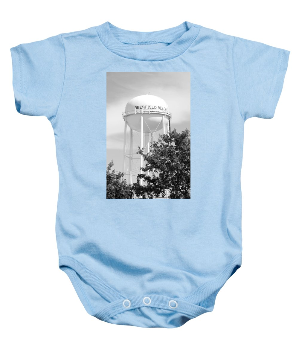 Black And White Baby Onesie featuring the photograph Deerfield Beach Tower In Black And White by Rob Hans