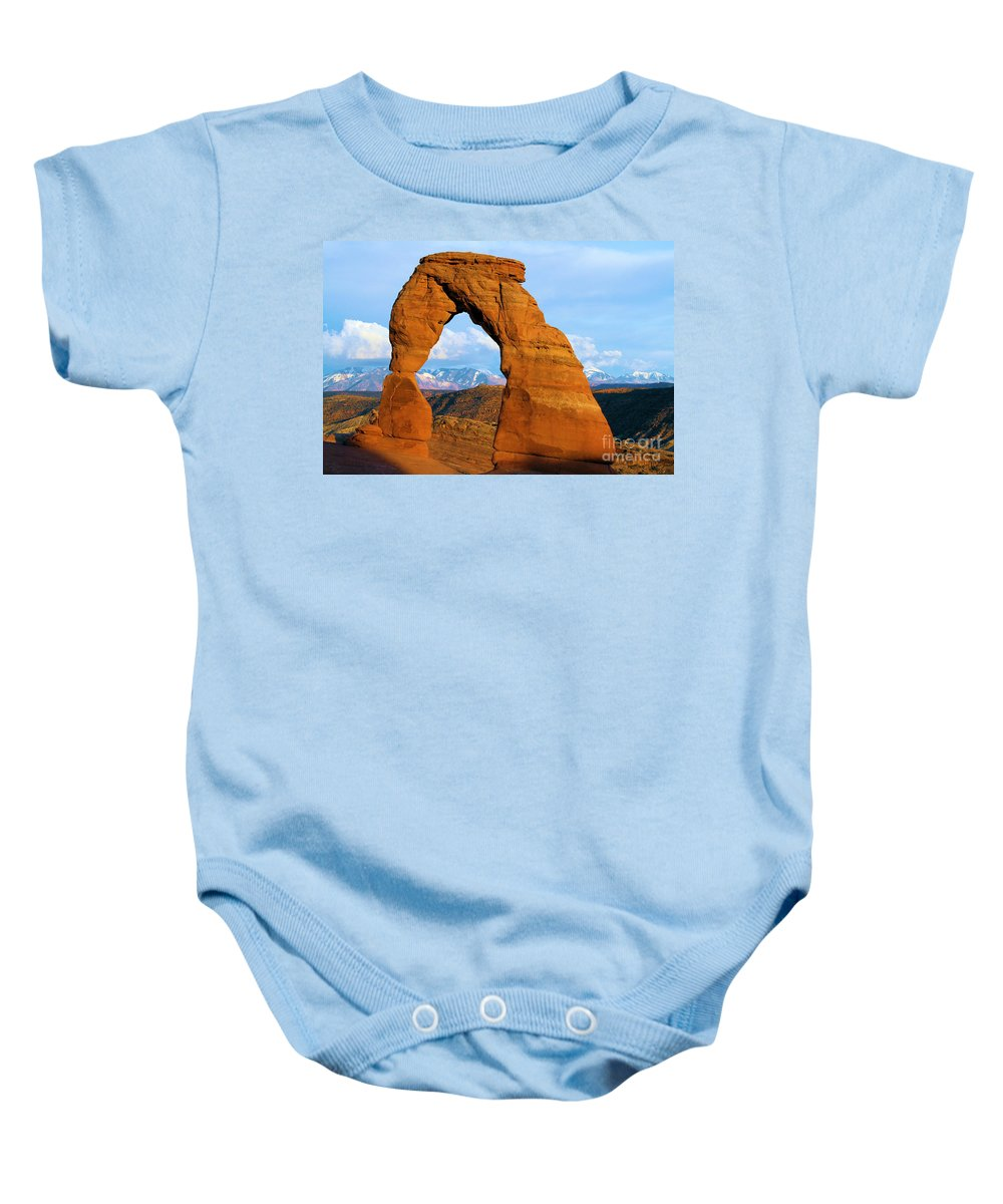 Delicate Arch Baby Onesie featuring the photograph Delicate Arch Closeup by Adam Jewell