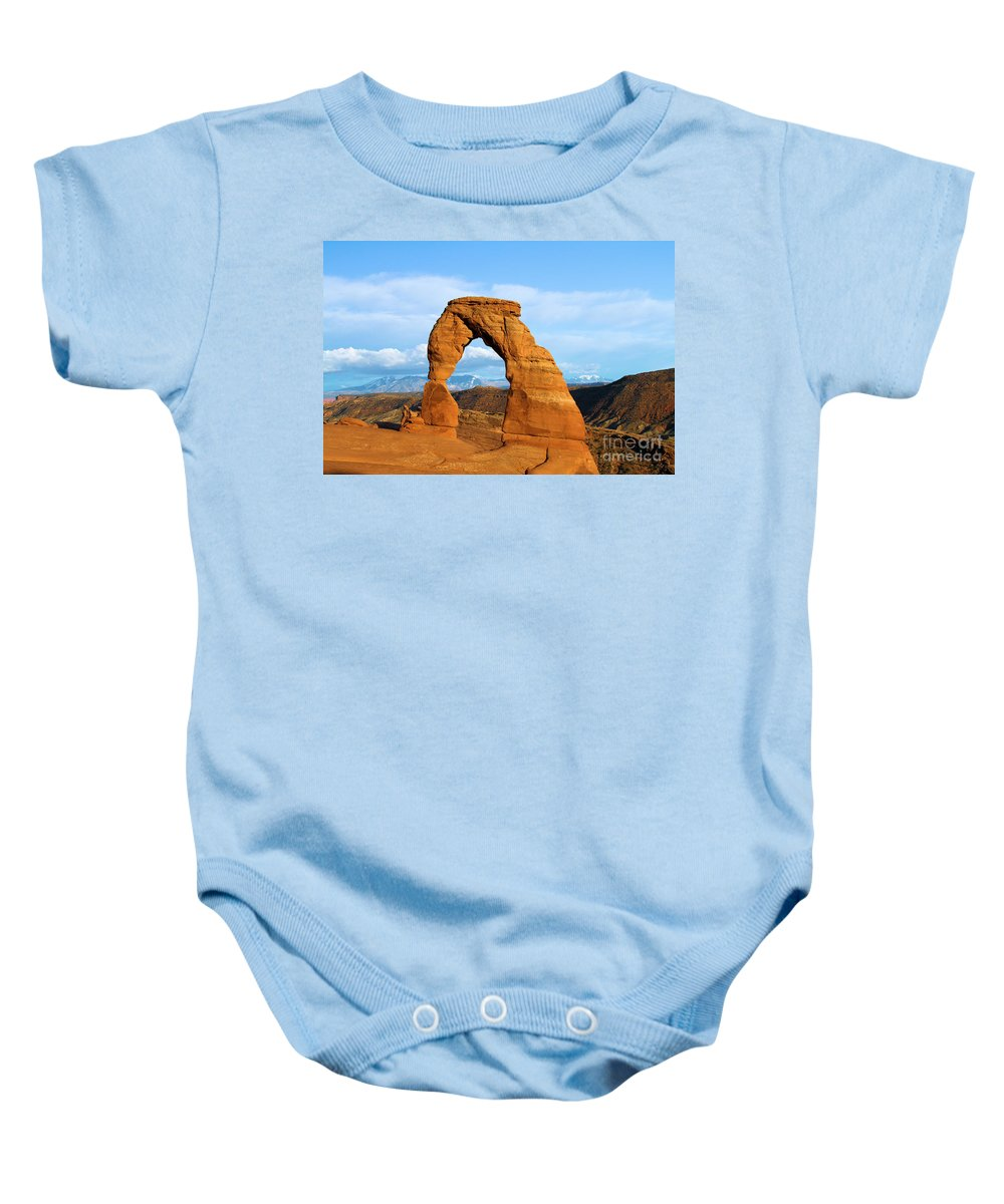 Delicate Arch Baby Onesie featuring the photograph Delicate Sights by Adam Jewell