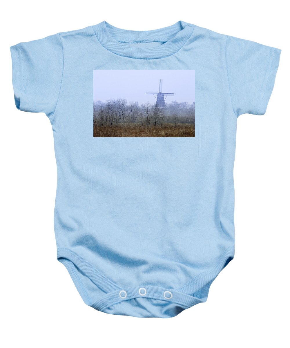 Art Baby Onesie featuring the photograph Dezwaan Windmill In Holland Michigan No. 105 by Randall Nyhof