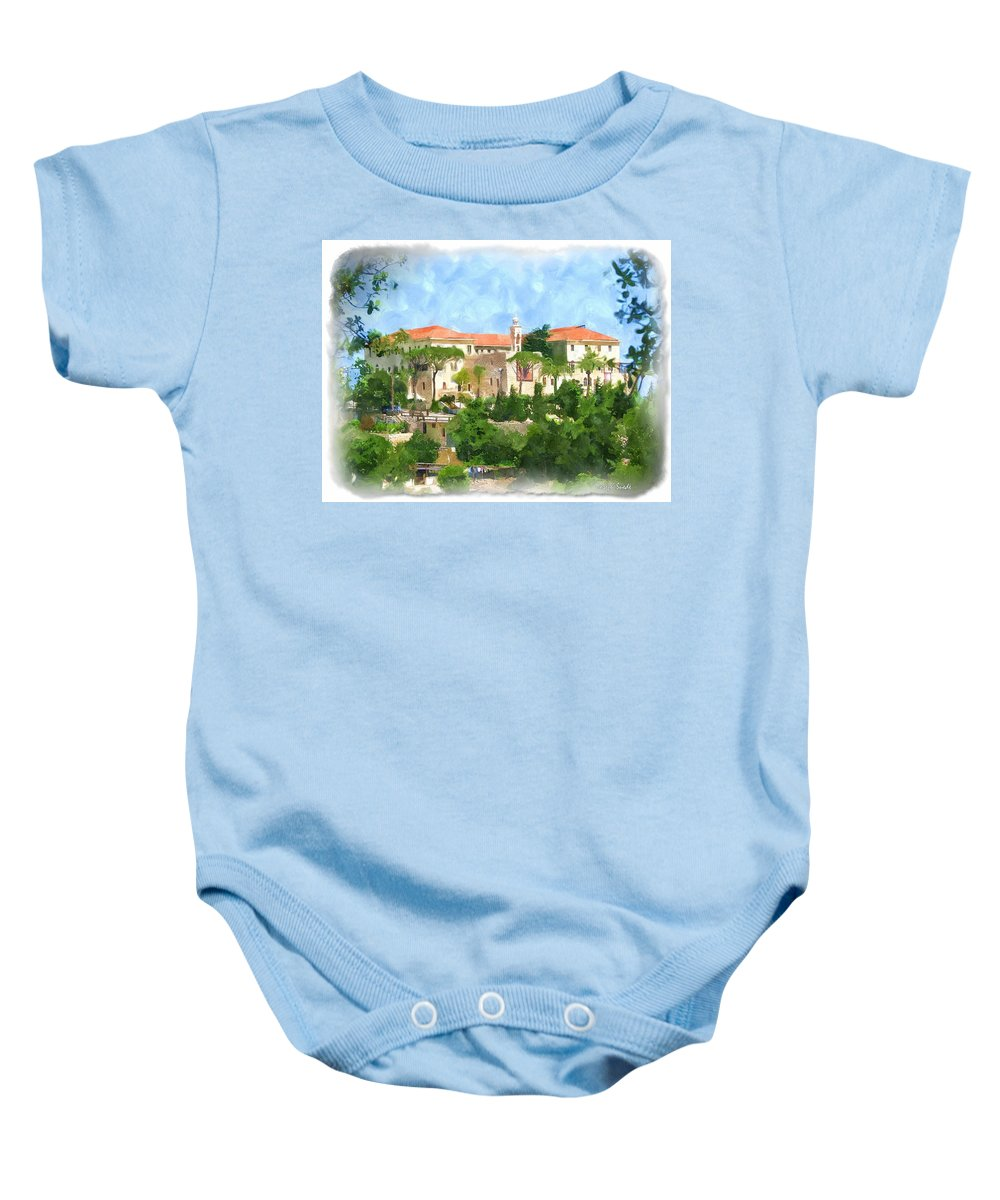 Digital Paintings Baby Onesie featuring the photograph Do-00525 Deir Kfifan by Digital Oil