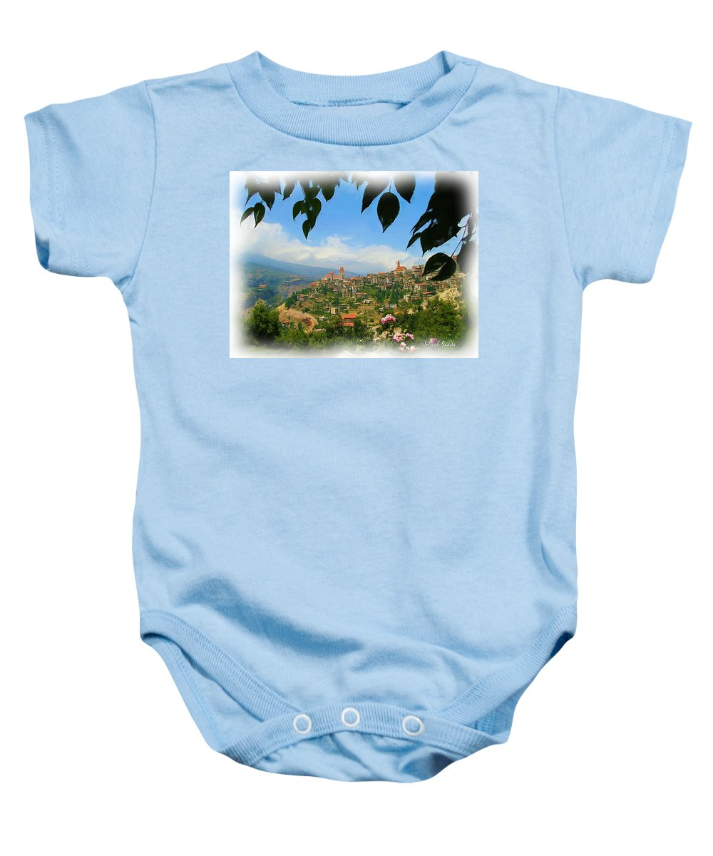 Digital Paintings Baby Onesie featuring the photograph Do-00547 Town Of Bcharre by Digital Oil