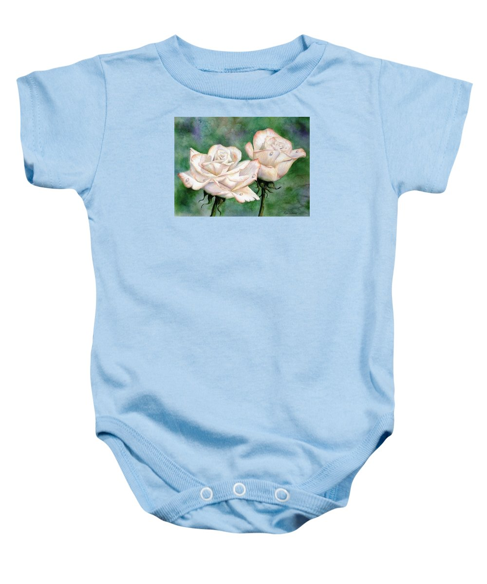 Flowers Baby Onesie featuring the painting Double Roses by Lyn DeLano