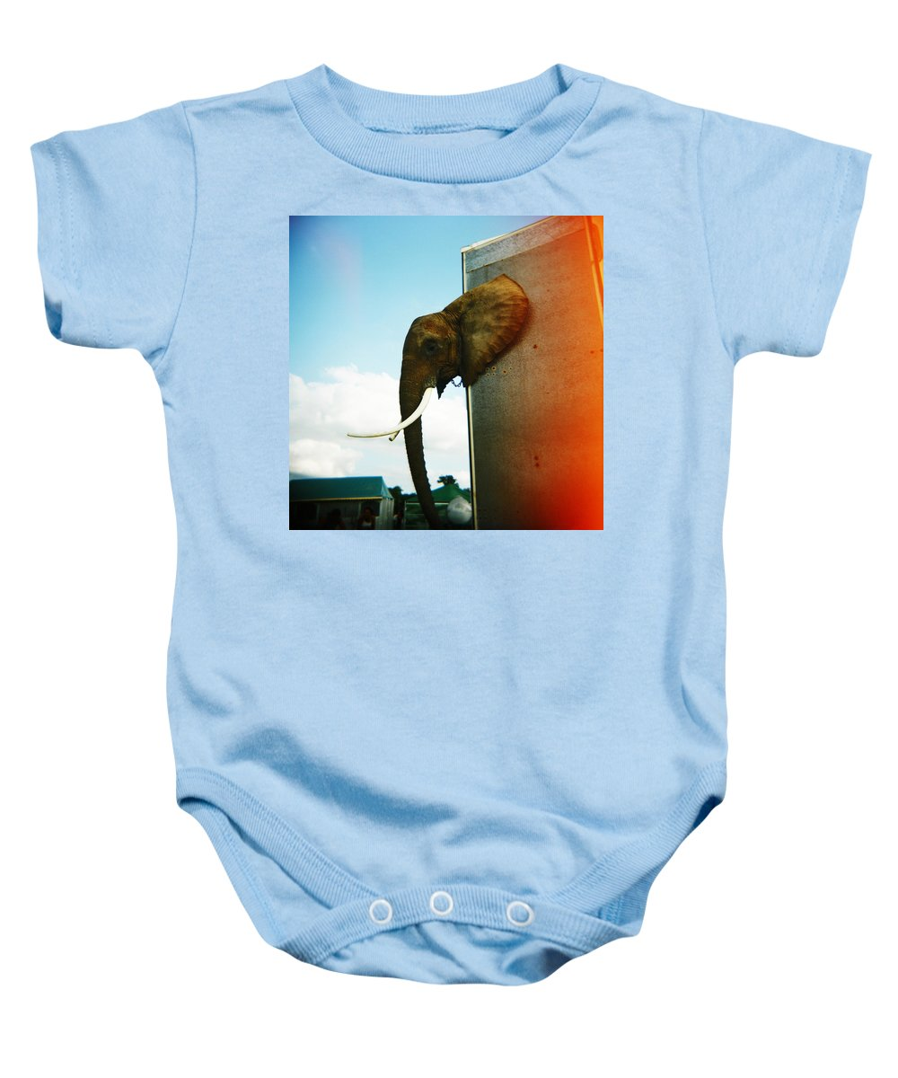 Elephant Baby Onesie featuring the photograph Elephant Box by Olivier De Rycke