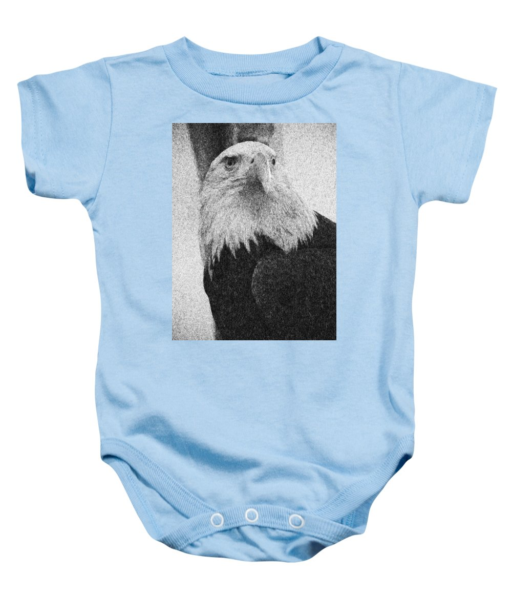 Eagle Baby Onesie featuring the mixed media Etched Eagle by Georgiana Romanovna
