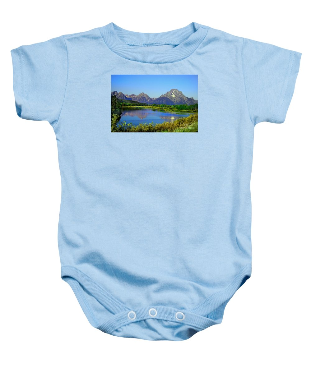 Grand Teton Baby Onesie featuring the photograph Fall At Oxbow Bend by Robert Bales