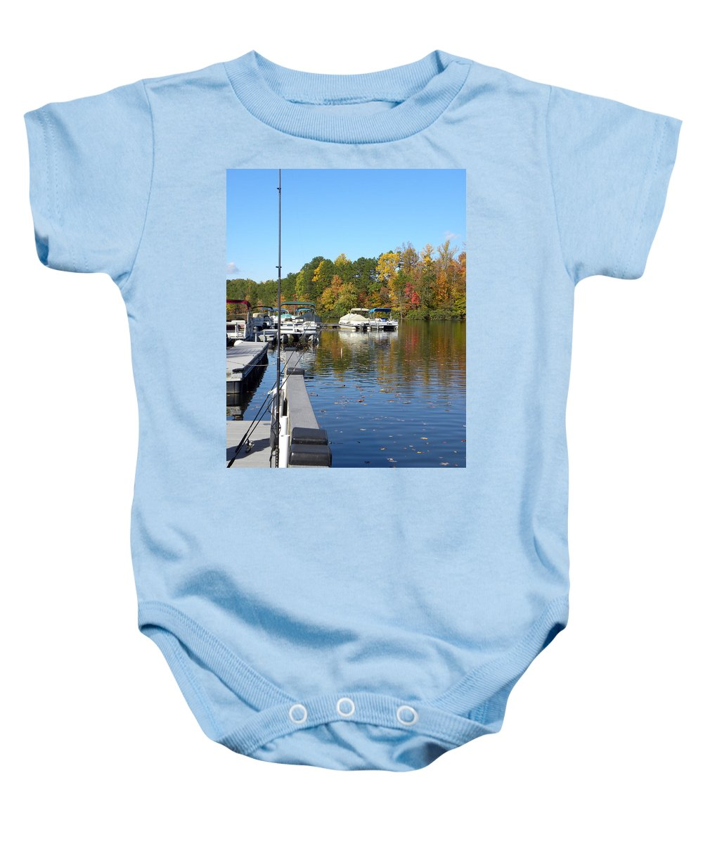 Marina Baby Onesie featuring the photograph Fall Fishing Break by Sandi OReilly