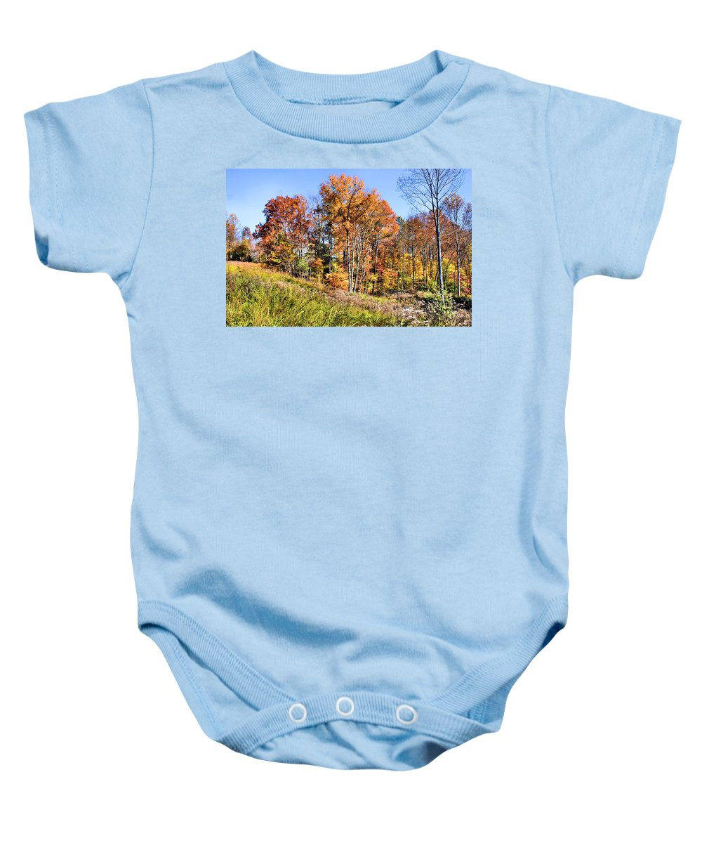 Culleoka Baby Onesie featuring the photograph Fall In The Foothills by Kristin Elmquist