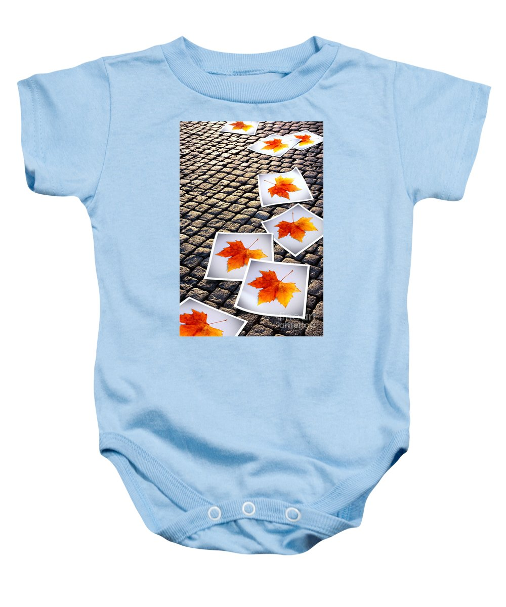 Abstract Baby Onesie featuring the photograph Fallen Autumn Prints by Carlos Caetano