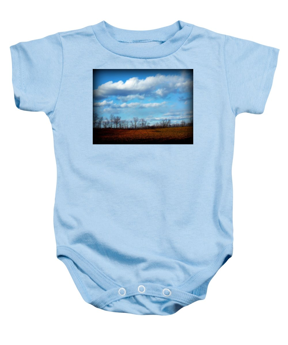 Trees Baby Onesie featuring the photograph Fields Of Yellow by Michele Nelson