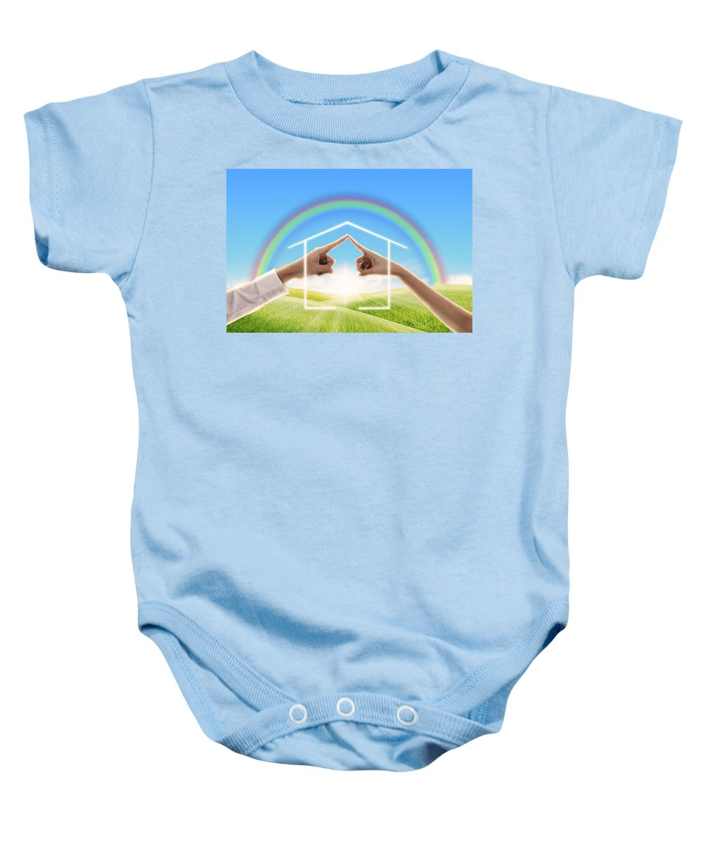 Abstract Baby Onesie featuring the photograph Fingers Touching Together by Setsiri Silapasuwanchai