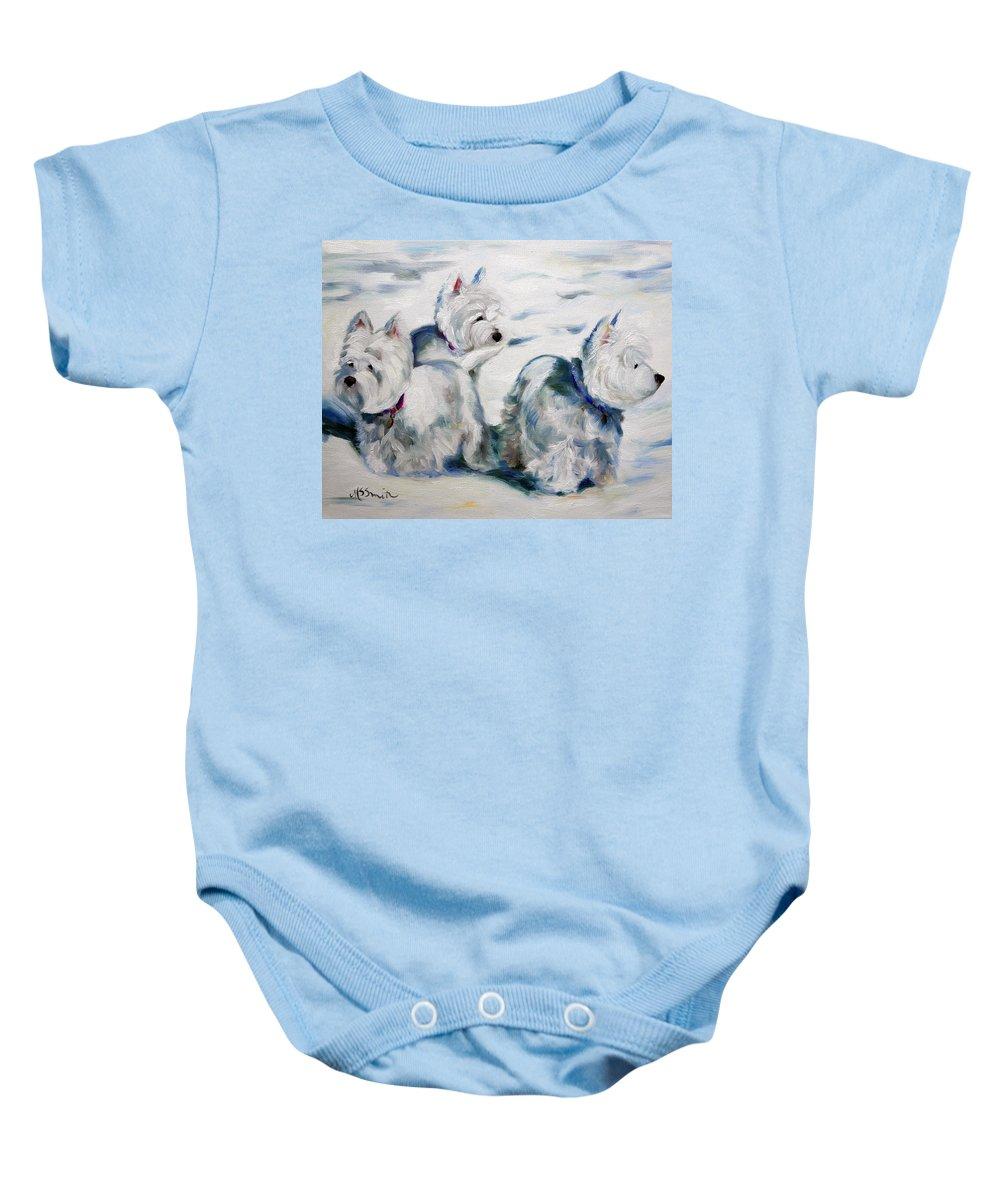 Art Baby Onesie featuring the painting First Snow by Mary Sparrow