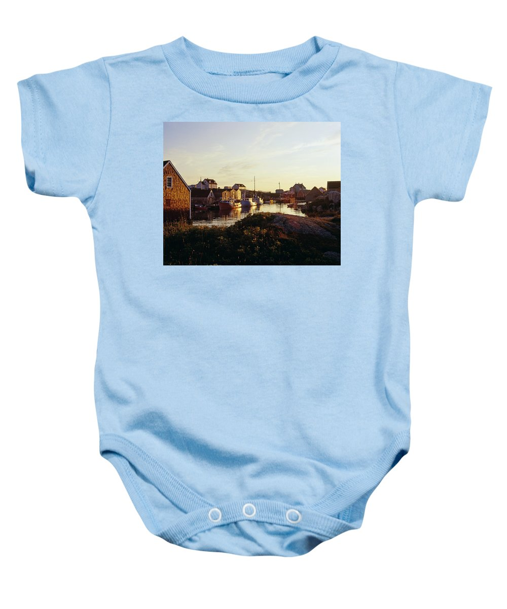 Attractions Baby Onesie featuring the photograph Fishing Village In Peggys Cove, Nova by David Chapman