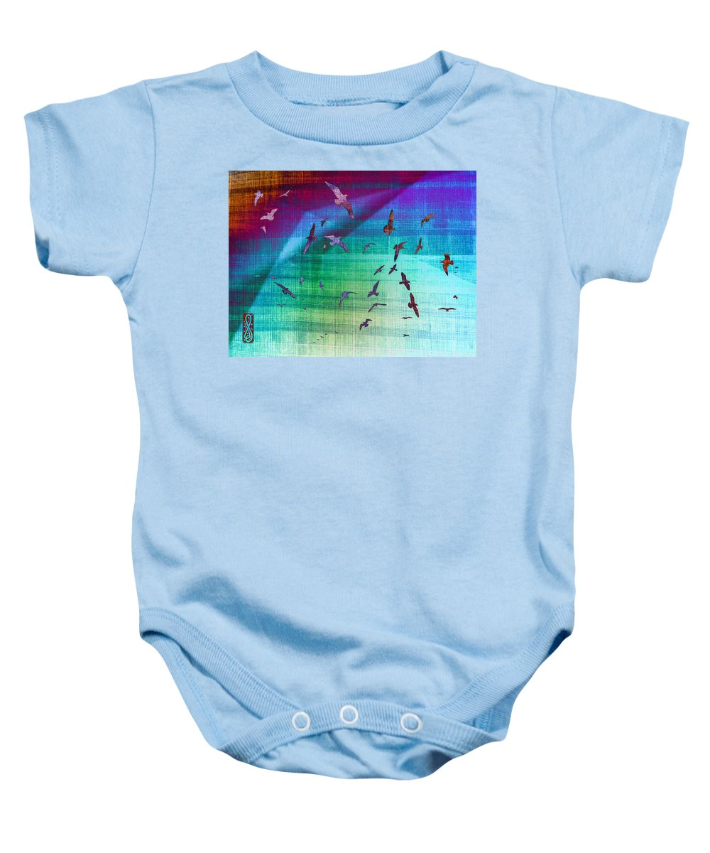 Seagulls Baby Onesie featuring the photograph Flock Of Seagulls by Hakon Soreide