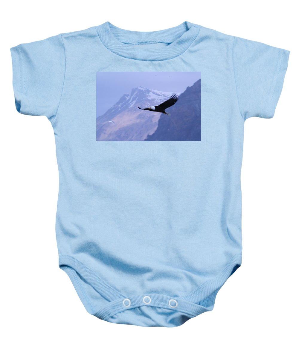 Soaring Baby Onesie featuring the photograph Flying Bald Eagle by Dean Gribble