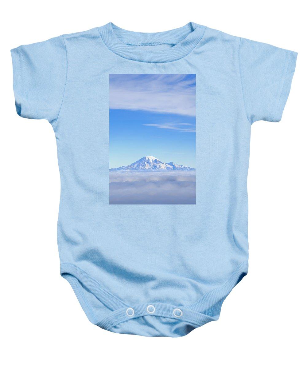 Cloudy Baby Onesie featuring the photograph Fog, Mount Rainier, Washington by Dan Sherwood