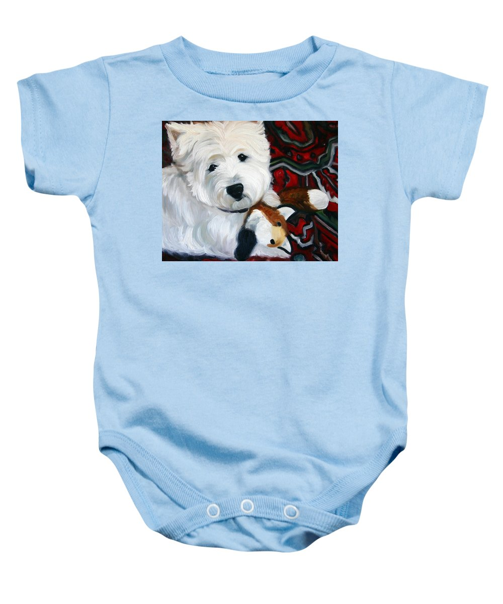 Art Baby Onesie featuring the painting Foxy Lady by Mary Sparrow