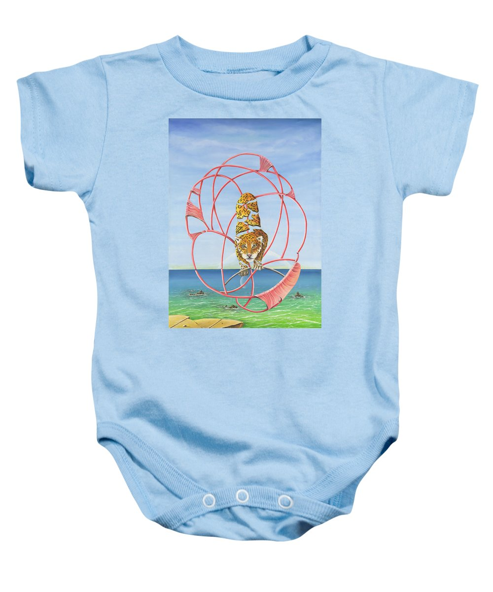 Leopard Baby Onesie featuring the painting Fragmented Out Comings by Teresa Gostanza