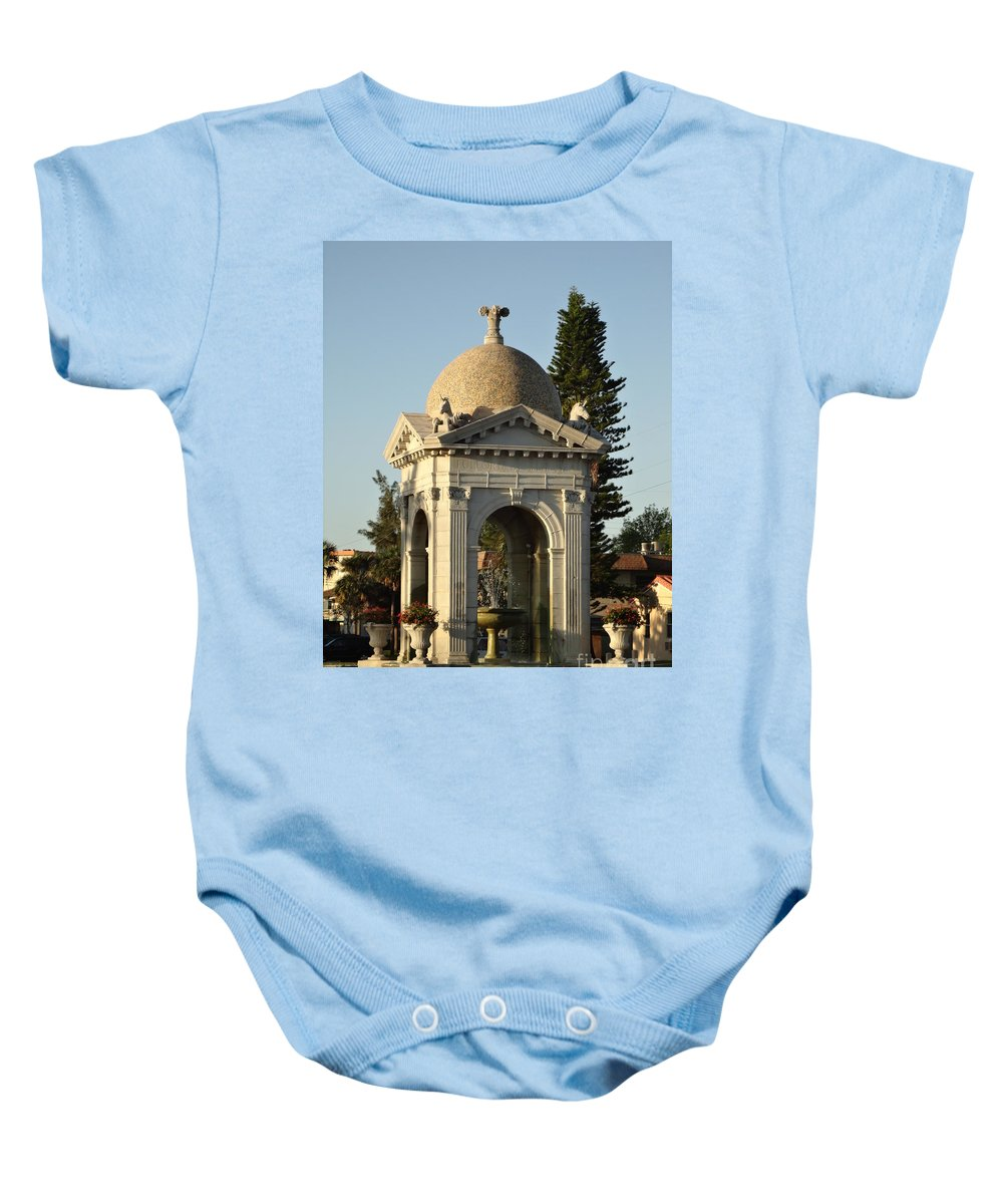 Fountain Baby Onesie featuring the photograph Fulford Fountain 2012 by Maria Bonnier-Perez