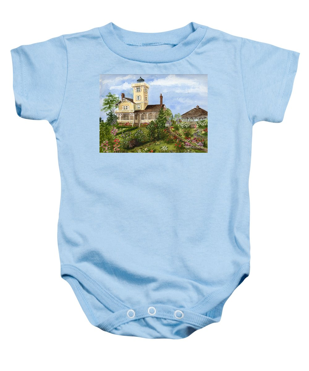 Hereford Inlet Lighthouse Baby Onesie featuring the painting Gardens At Hereford Inlet Lighthouse by Nancy Patterson