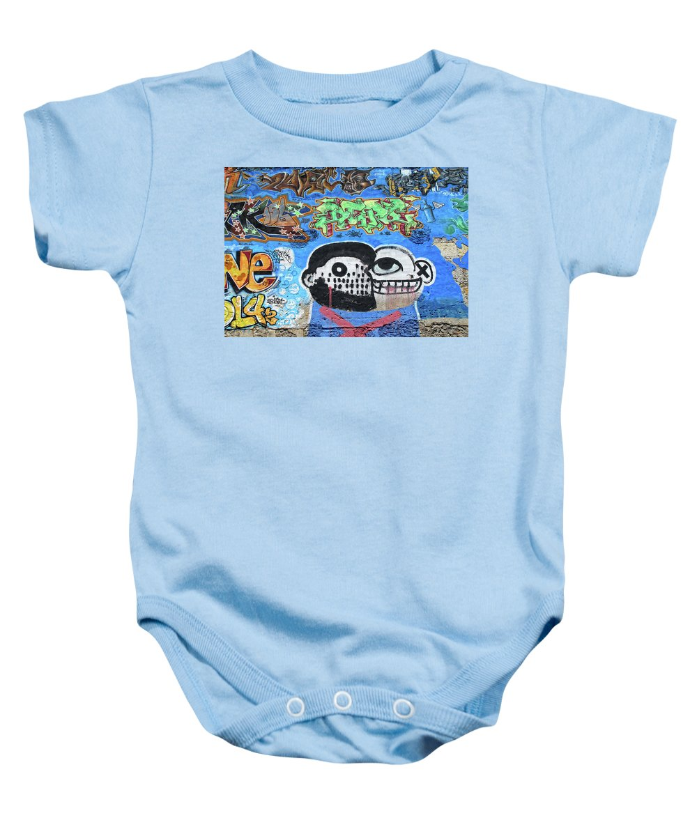 Graffiti Baby Onesie featuring the photograph Graffiti Provence France by Dave Mills