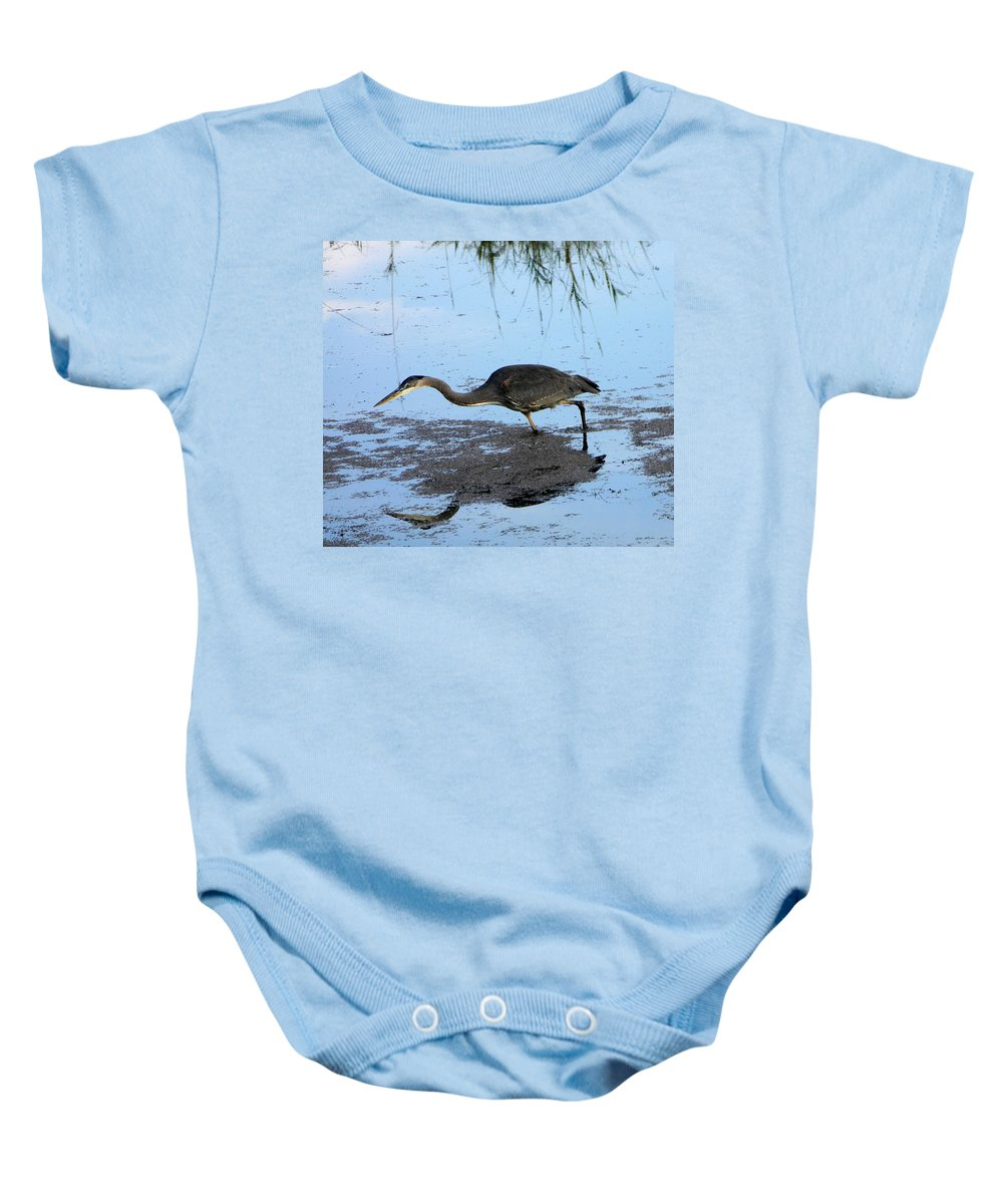 Heron Baby Onesie featuring the photograph Great Hunter 3 by Jessica Lee