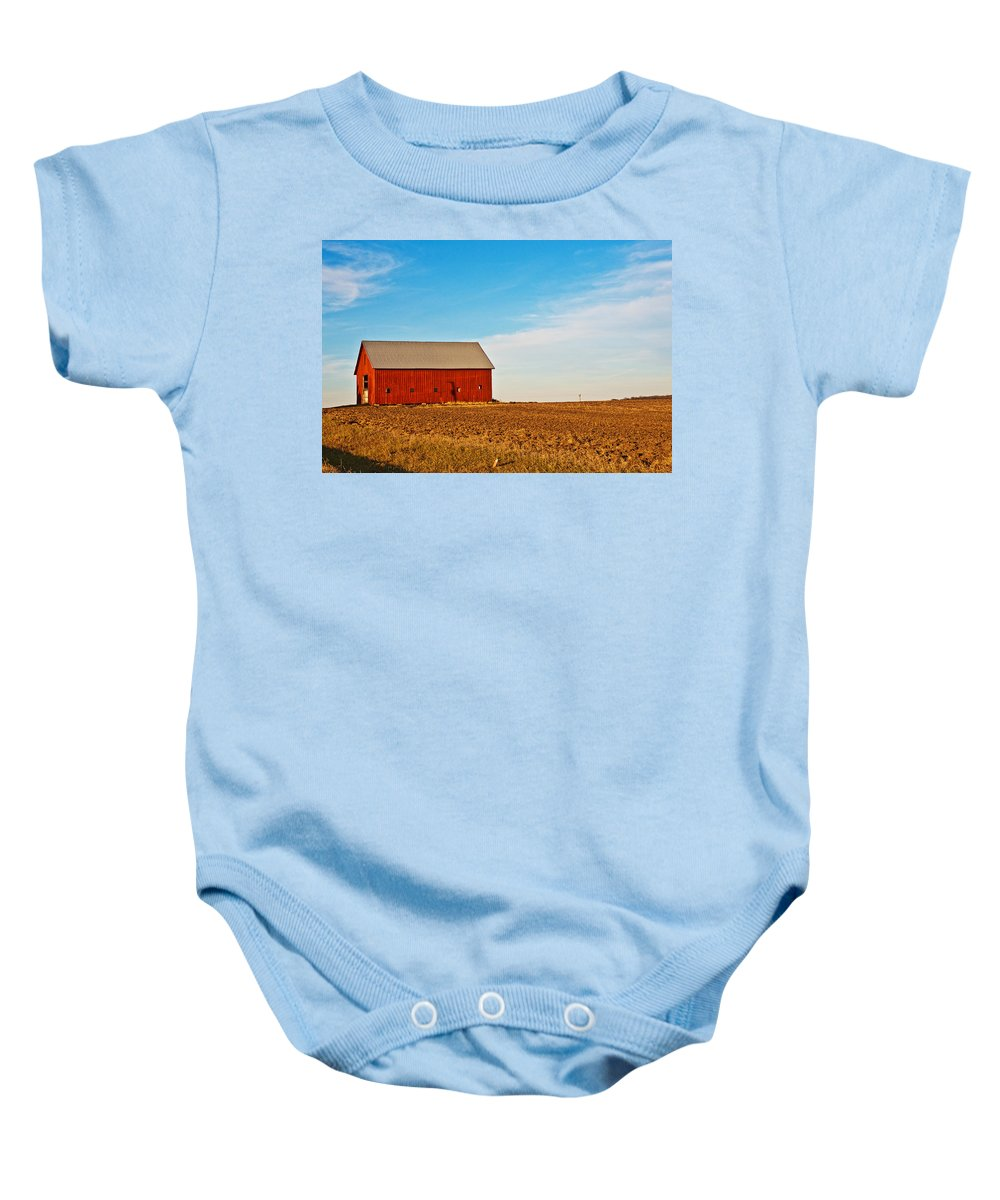 Barn Baby Onesie featuring the photograph Harvest Is In by Edward Peterson