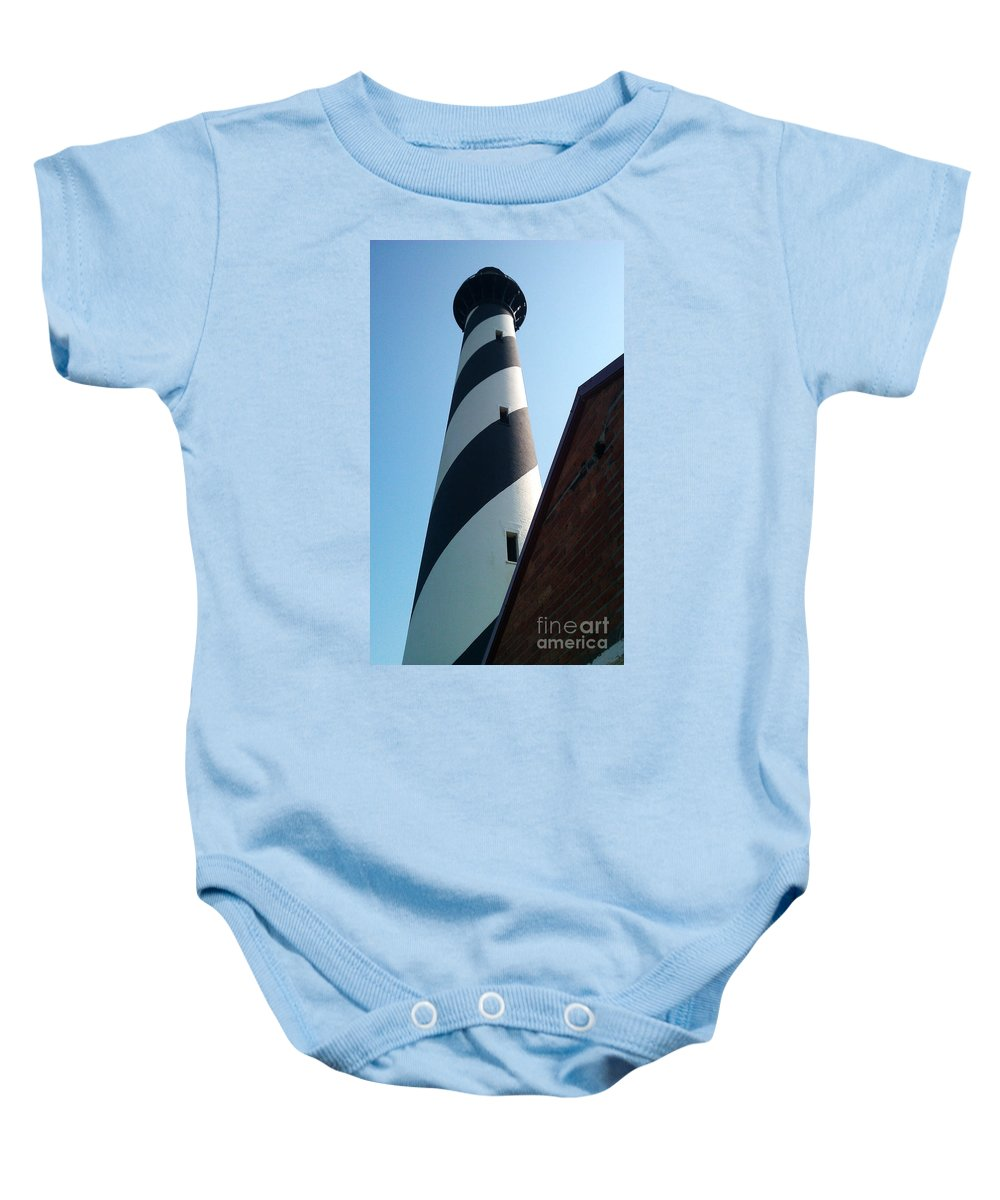Hatteras Baby Onesie featuring the photograph Hatteras Light by Tony Cooper
