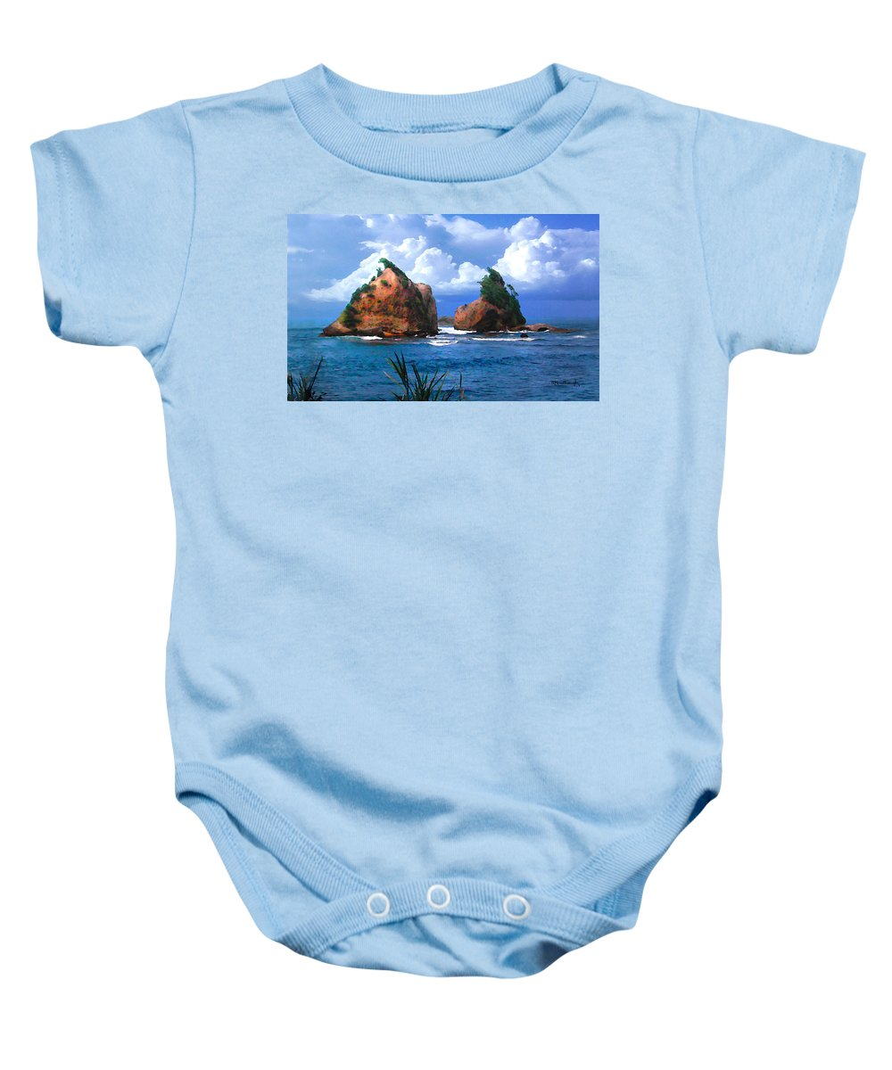 Hells Gate Baby Onesie featuring the photograph Hells Gate Rocks Near Calibishie Dominica by Duane McCullough