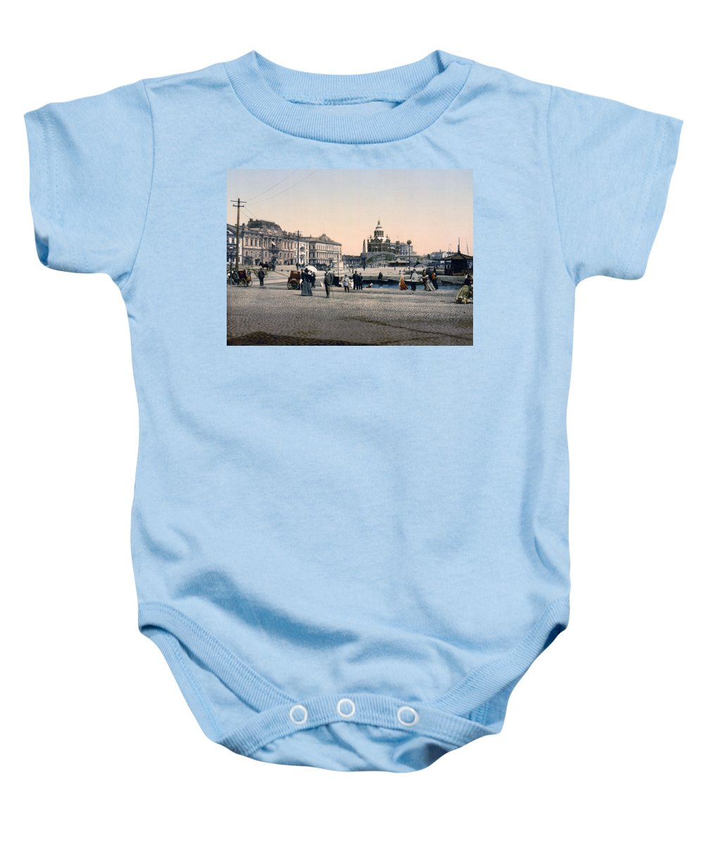 Helsinki Baby Onesie featuring the photograph Helsinki Finland - Senate Square by Bode Stevenson