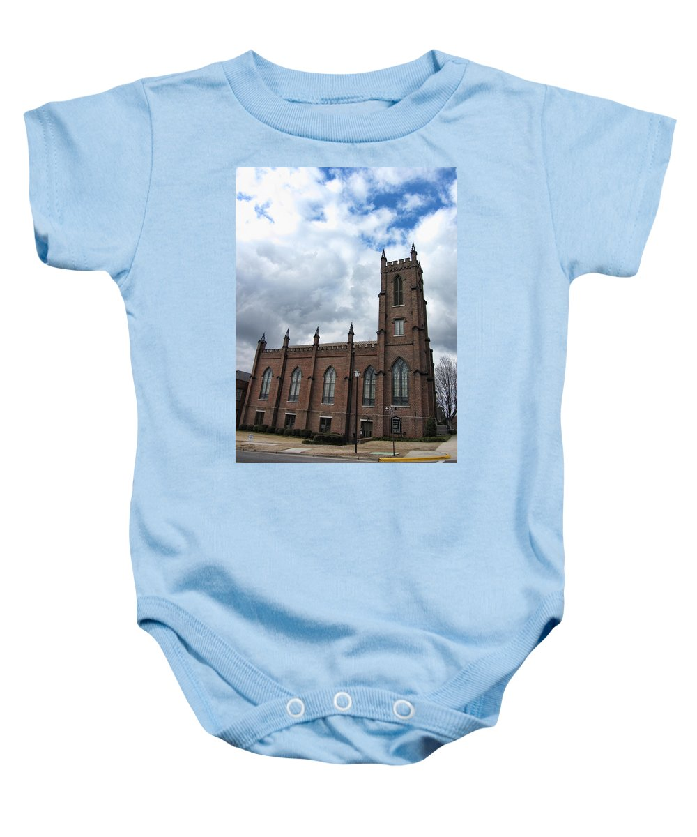 1st Presbyterian Church Baby Onesie featuring the photograph Historical 1st Presbyterian Church - Gates Avenue Se Huntsville Alabama Usa - Circa 1818 by Kathy Clark