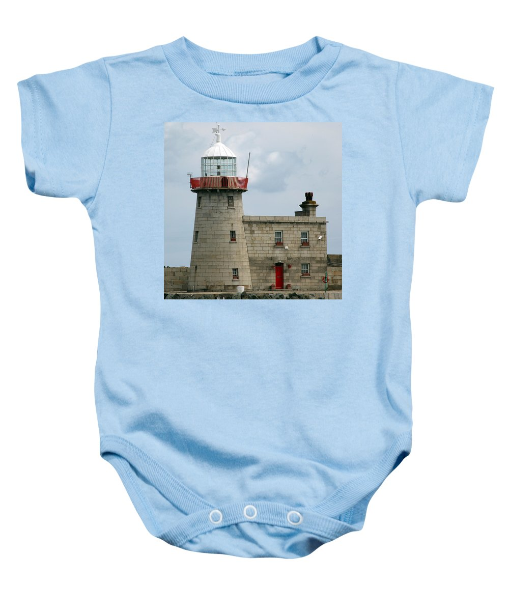 Howth Lighthouse Baby Onesie featuring the photograph Howth Lighthouse 0001 by Carol Ann Thomas