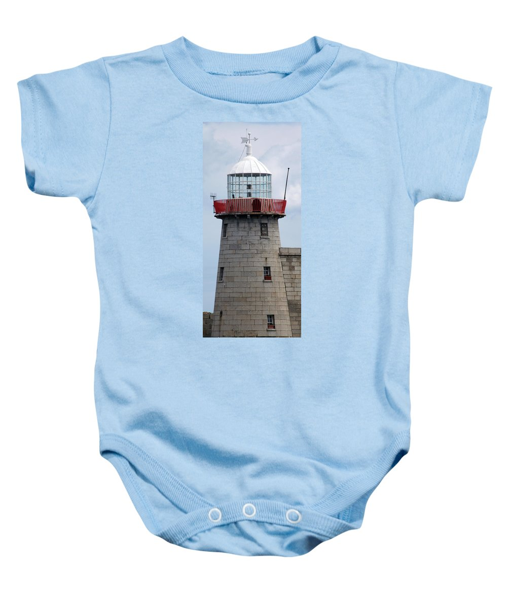 Howth Lighthouse Baby Onesie featuring the photograph Howth Lighthouse 0002 by Carol Ann Thomas