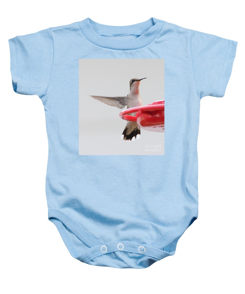 Hummingbirds Baby Onesie featuring the photograph Hummingbird With Wings Back by Lori Tordsen
