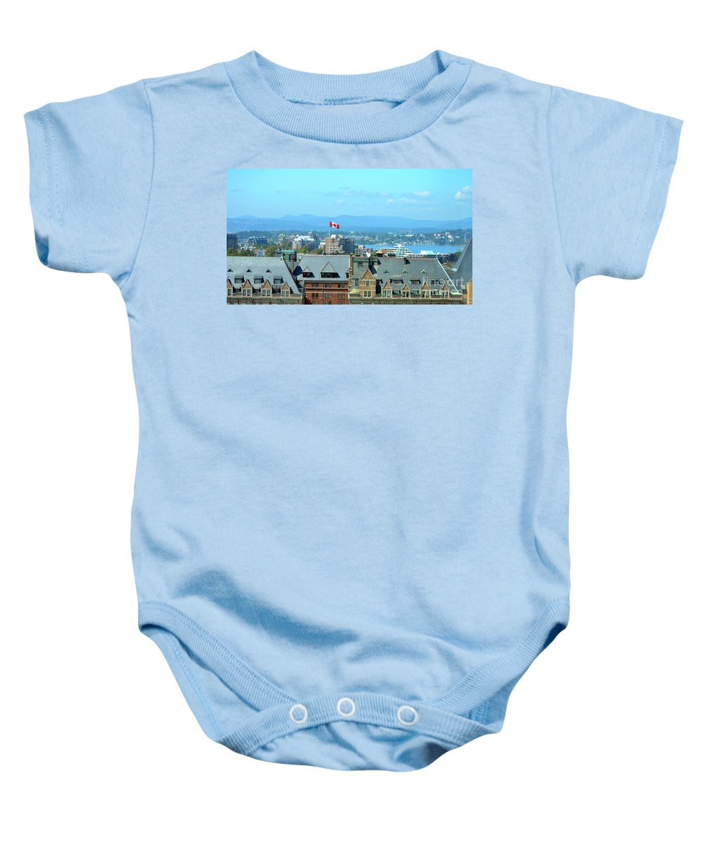 British Columbia Baby Onesie featuring the photograph Inner Harbour As Seen Via Marriot Window by Traci Cottingham