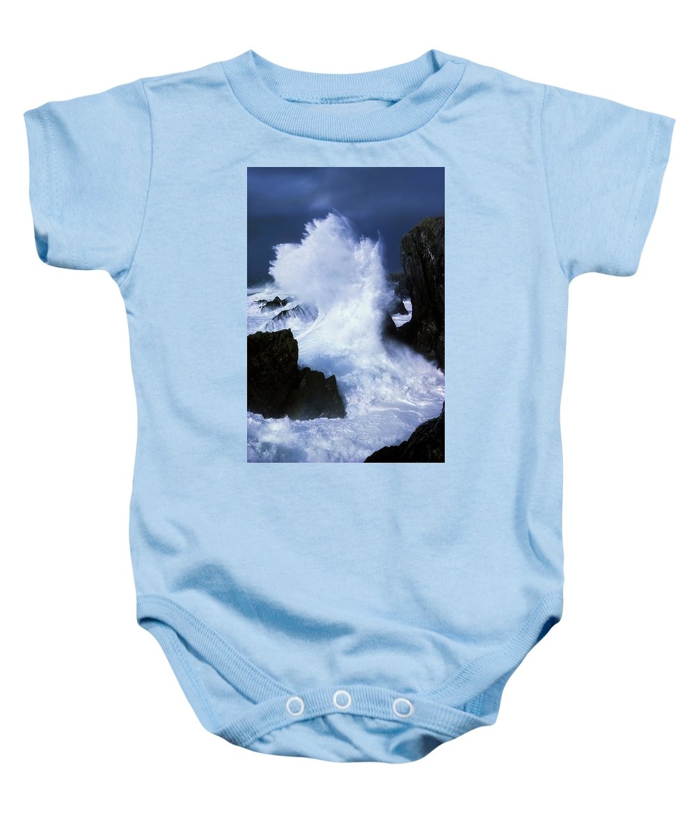 Blurred Motion Baby Onesie featuring the photograph Ireland, Waves Crashing On Rocks by The Irish Image Collection