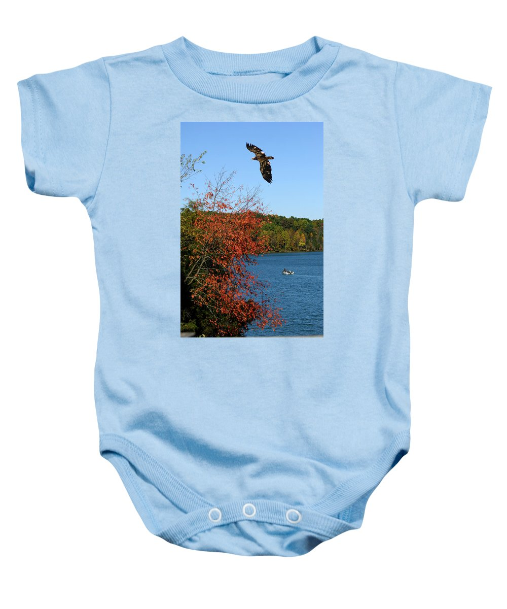 Junenile Eagle And Fishermen Baby Onesie featuring the photograph Juvenile And Fishermen by Randall Branham