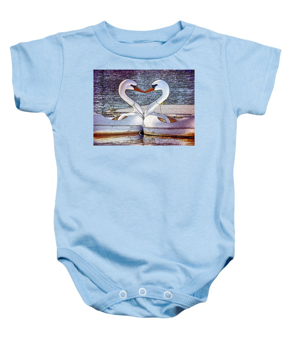 Swan Boats River Kissing Baby Onesie featuring the photograph Kissing Swans by Alice Gipson